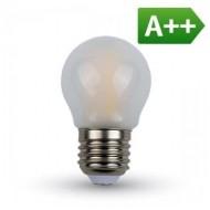 LAMPADINA LED E27 4W FIL. OPACA BIANCO CALDO A BULBO V-TAC A++